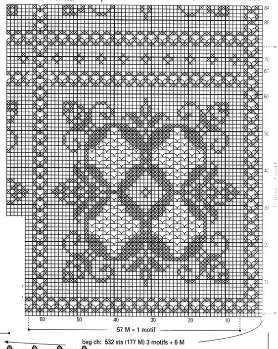 Схемы филейного вязания плед