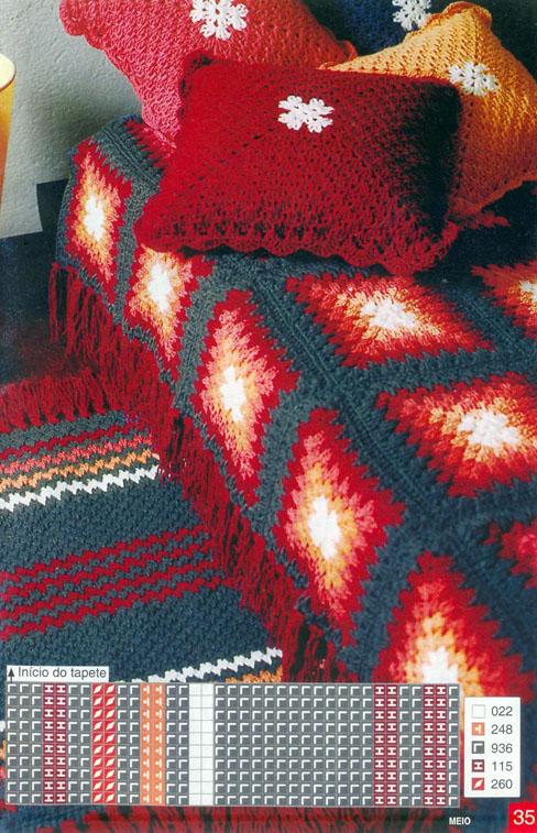 А в этом примере вязаное все: коврик, покрывало, подушки.