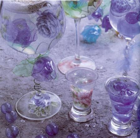 Уроки декупажа. Кристаллизующийся лак на прозрачном основании. Как декорировать рюмки, бокалы.
