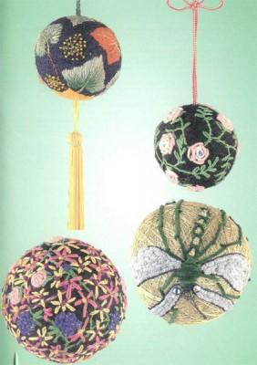 12 узоров для вышивки шариков темари. Узор 9 - 12.