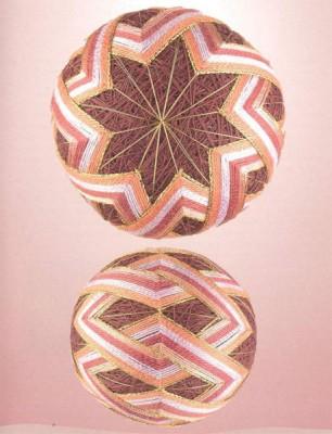 12 узоров для вышивки шариков темари. Узор 7.