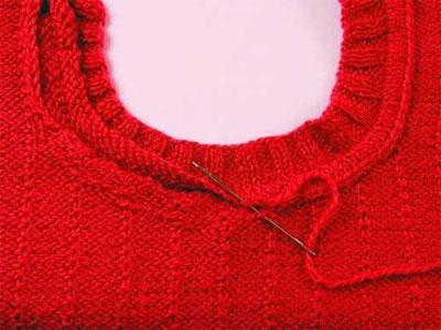 Как связать горловину у свитера