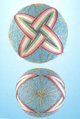 10 узоров для вышивки шариков темари. Узор 2.