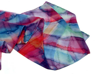 Как сделать шарфик - платок из шифона с наложением красок и водяными разводами.
