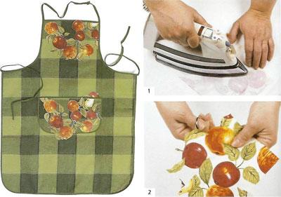 Декупаж из ткани и на ткани.  Яблоки вырезаны из очень яркой и эффектной...