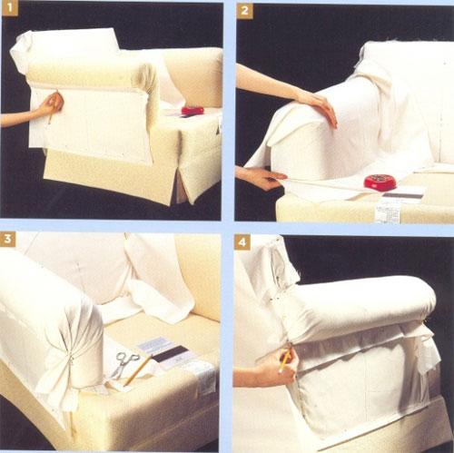 Чехол на диван и на кресло своими