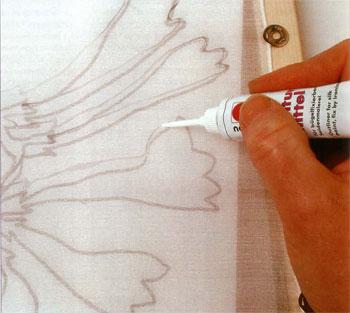 Уроки росписи по шелку. Составы для контуров и резервирующие смеси.
