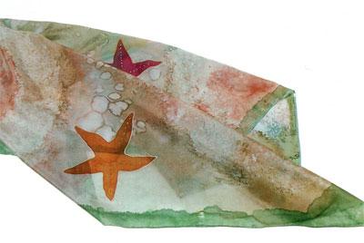 Роспись шелка. Делаем привлекательный пляжный саронг с морской тематикой.