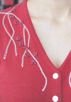 Как придать неповторимый шарм любимой одежде. Ещё две идеи по вышивке на свитерах с V - вырезом.
