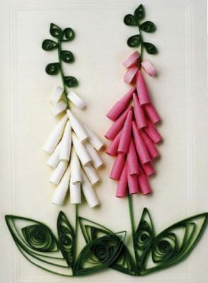 Квиллинг. Цветы из бумажных лент. Как сделать наперстянку (Digitalis purpurea) и ландыш (Convallaria majalis).