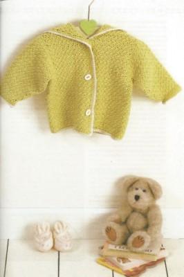 Схемы вязания для малышей. Как вязать кофточку с капюшоном.