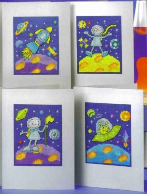 Открытка своими руками. Вышиваем забавных космонавтов.