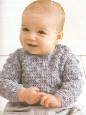 """Схемы вязания для малышей. Как связать малютке гладкий свитер и свитер с """"шишечками""""."""
