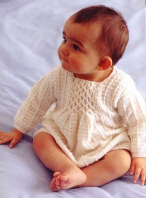 Схемы вязания для малышей. Как выполнять традиционные буфы. Платье с буфами.