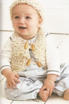 Схемы вязания для малышей. Вяжем комплект - жилет и шапочку.