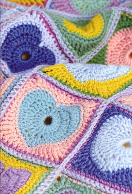 крючком одеяло с сердечками. Схема