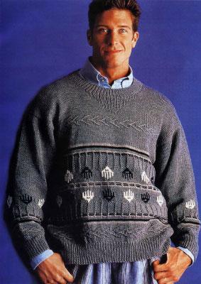 Вяжем мужчине на спицах. Схемы вязания свитера с жаккардовым и тканным узорами.