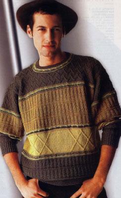 Вяжем мужчине на спицах. Схемы вязания пуловера с ромбами.