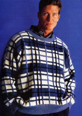 Вяжем мужчине на спицах. Схемы вязания свитера с жаккардовым узором в клетку.