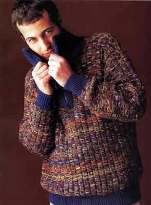 Вяжем мужчине на спицах. Схемы вязания свитера с молнией в воротнике.