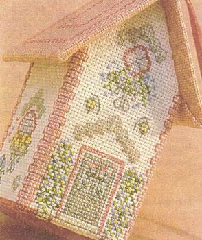 Объёмная вышивка крестом. Как сделать дом, украшенный ракушками. Схема вышивки.