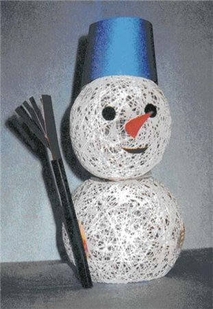 ...смастерить детские поделки Новый Год в школе, которые вызовут целый фурор - воздушного снеговика из шаров из ниток.