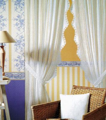 Как вязать нежную вуаль - шторы для комнаты.