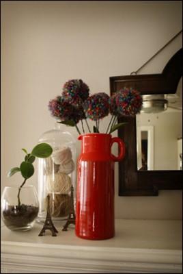 Как сделать букет цветов с бутонами - помпонами.