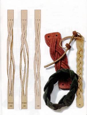 Плетение из кожи.Как сплести браслеты различными способами.