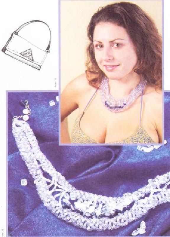 Плетём украшение из бисера.  Колье с камнями: горный хрусталь, лунный камень, аквамарин, синий перламутр.