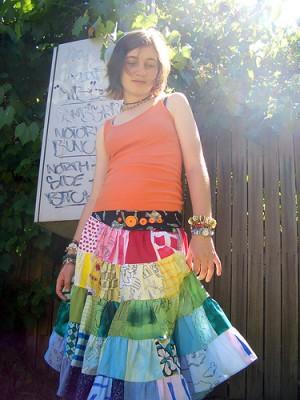 """Как сшить модную солнечную юбку в технике """"пэчворк""""."""