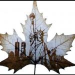 Рисунки на кленовых листьях.