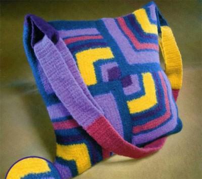 Вязаная сумка «Волшебные уголки». Схема вязания. Отделка валянием.