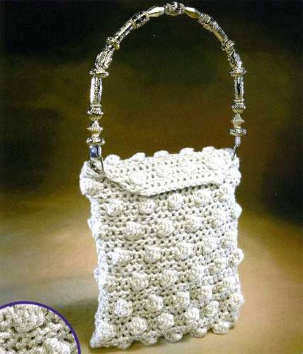 "Схема вязания вечерней сумочки с  ""шишечками "" ."