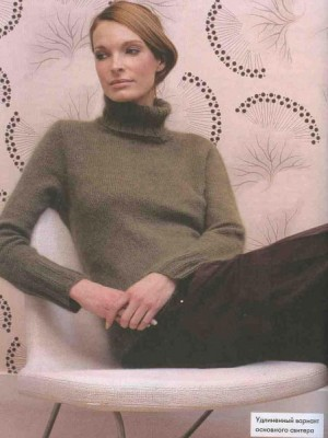 Как вязать свитер с различными воротниками, в удлинённом или укороченном вариантах.
