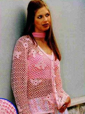 Розовый кардиган сетка. Описание вязания.