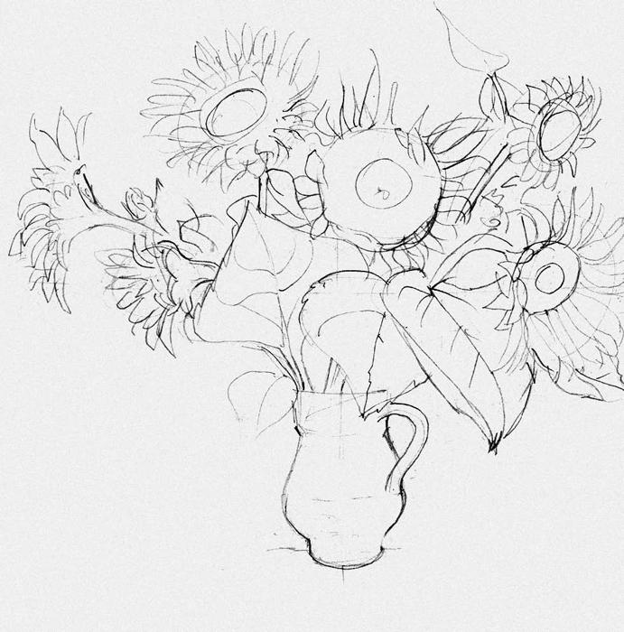 рисовать подсолнухи гуашью
