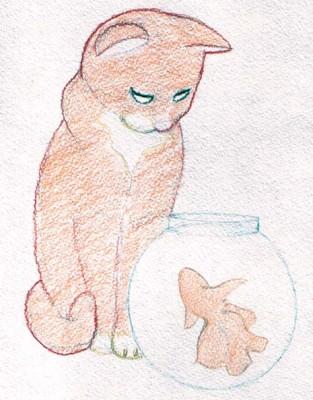 Уроки живописи карандашом. Котенок и рыбка.