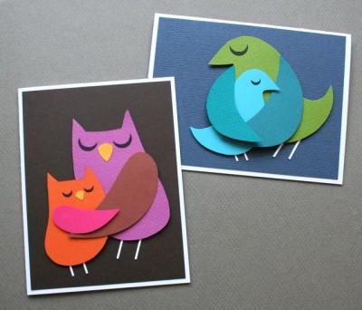 Мама - птички. Картонные миниатюры для открыток и панно.