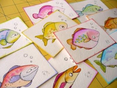 Уроки живописи акварелью и карандашом. Рисуем рыбок.