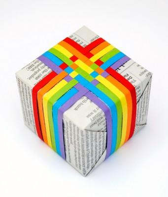 Упаковка подарка - коробки. Радуга.