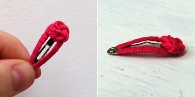 Заколка клипса и нитки - необычное украшение своими руками.