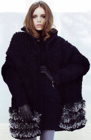 Вязание пальто спицами с
