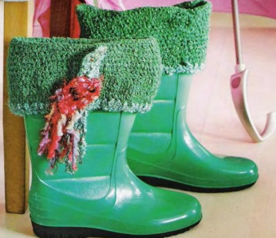 Вязаный декор обуви